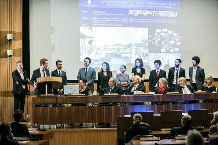 Remise des prix du concours international d'architecture de la Fondation Jacques Rougerie, 27 Novembre 2014, Unesco, Paris. COPYRIGHT JULIEN FAURE/FONDATION ROUGERIE.TOUS DROITS RESERVES.