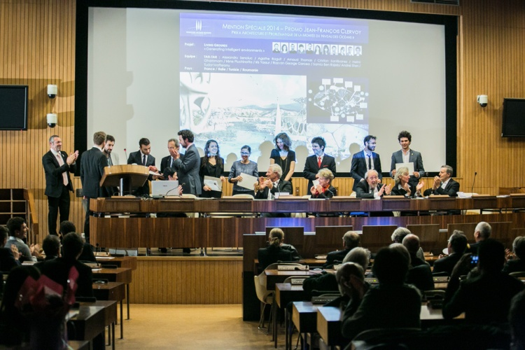 Remise des prix du concours international d'architecture de la Fondation Jacques Rougerie, 27 Novembre 2014, Unesco, Paris. COPYRIGHT JULIEN FAURE/FONDATION ROUGERIE.TOUS DROITS RESERVES.